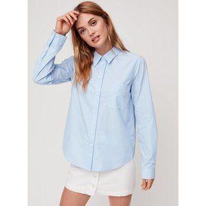NWOT Aritzia Sunday Best Liesel Blouse Small Blue Stripe Classic Button-Up Shirt